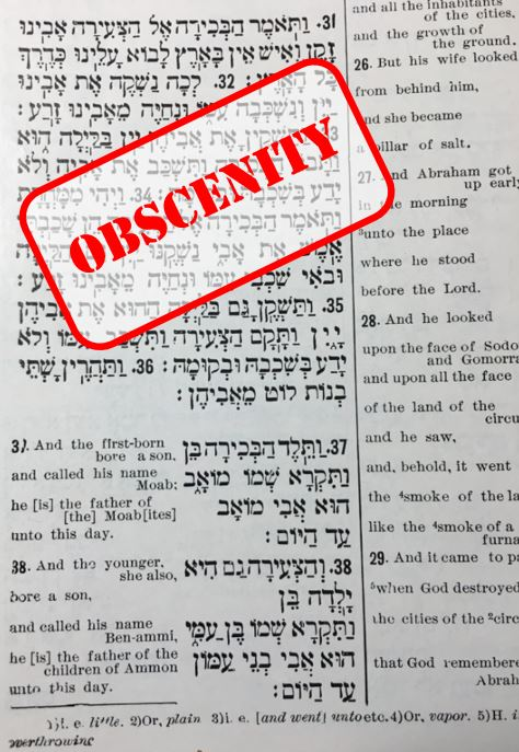 Obscenity - Lot and his daughters Genesis Chap 19 31-35